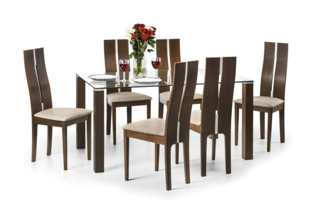 Cayman Dining Set Solid Beech Wood stained Walnut High Back Chairs Sold separate