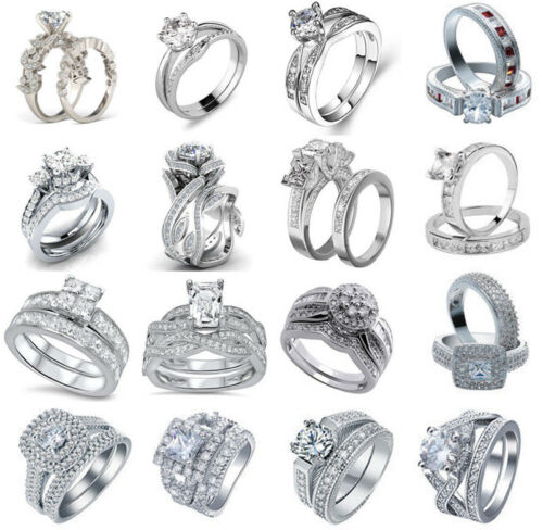 Fashion 925 Argent Saphir quartz Gem Anneaux Set Mariage Femmes Hommes Bague Cadeau