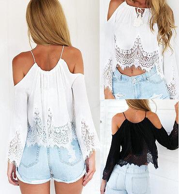 Sexy Women Casual Boho Lace Off Shoulder Shirt Summer Crop Tank Tops Blouse NEW