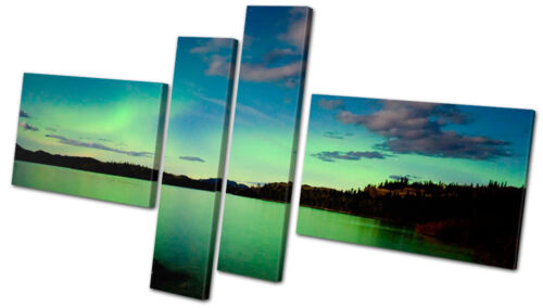 Space Northern Lights Night View  MULTI CANVAS WALL ART Picture Print VA