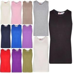 Bambine-Maglia-a-Coste-100-Cotone-Spesso-Moda-Canotta-T-Shirt-2-13-Anno