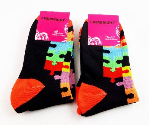 Puzzle Piece Socks 2 Pairs Black Color Ladies Crew Autism Awareness Everbright