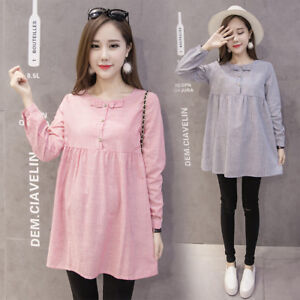 New-Fashion-Pregnancy-Women-Long-Sleeve-Striped-Casual-Loose-Maternity-Dress-Top