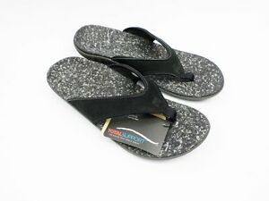 Spenco-Men-039-s-Leather-Sandals-Flip-Flops-Black-39-536-A