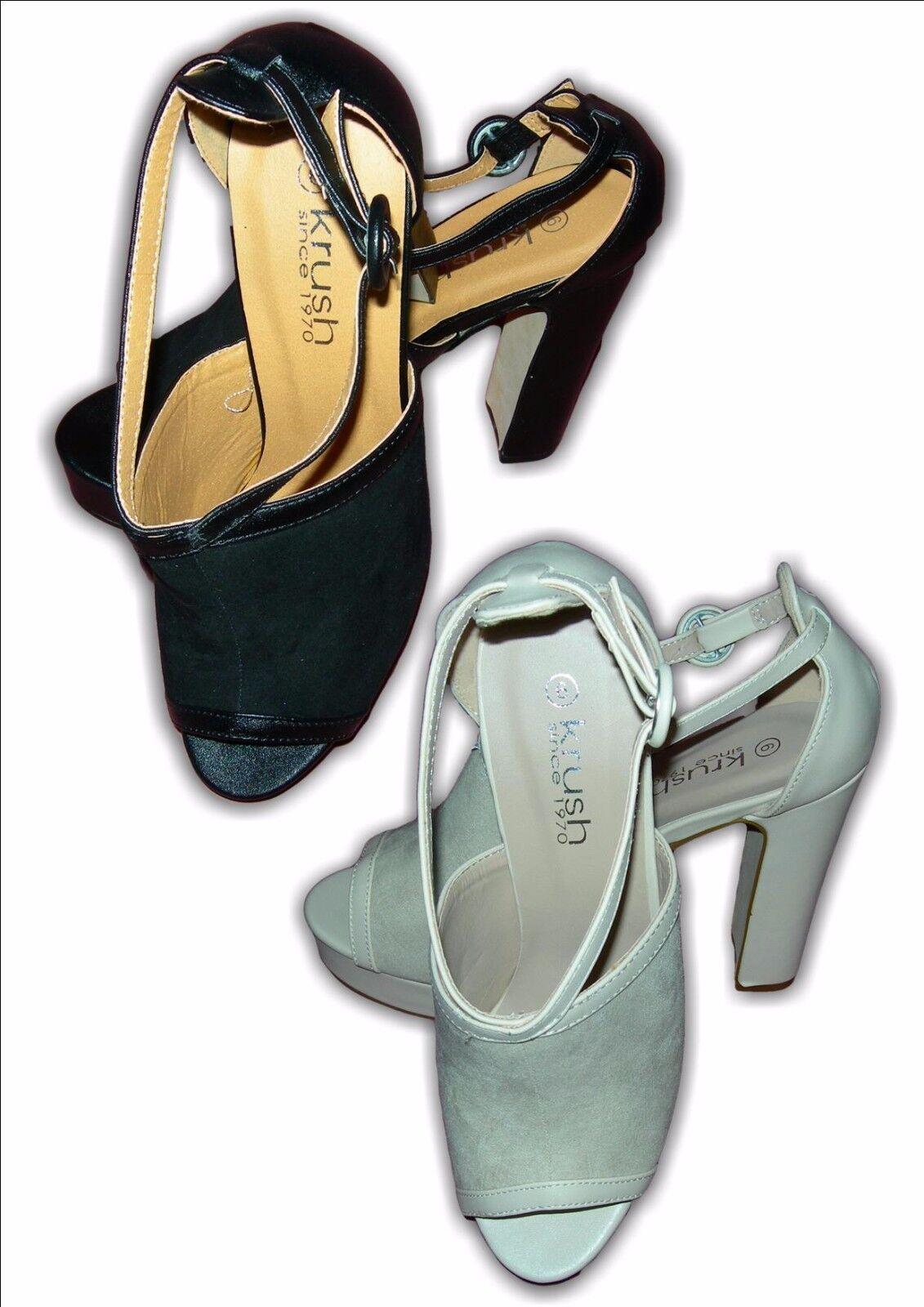 Ladies Platform Heels Fashion Open Toe Sandals Faux Suede Black Nude LS0055