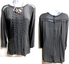 Maurices dark gray crinkled crochet trim plus size stretch peasant top 2 , 2X
