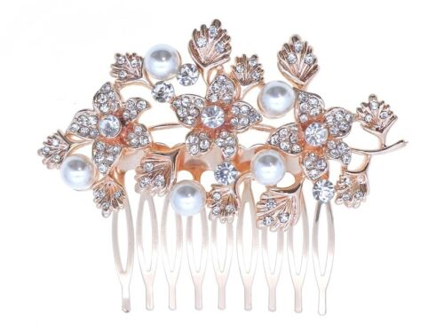 BN Bridal Or Rose Mariage Crystal /& Perle Femmes Pince à cheveux comb 160 UK