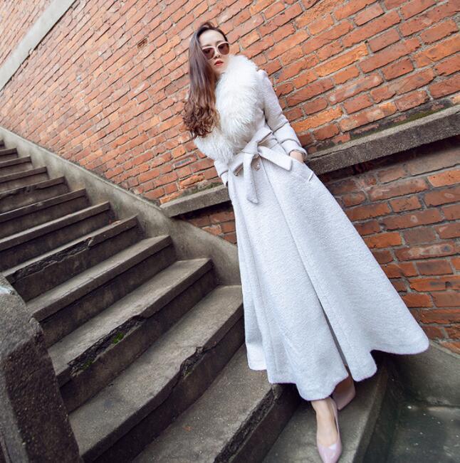 Mezcla de lana para  Mujer de Moda Piel Sintética Cinturón Acampanada Invierno Abrigo Chaqueta Prendas de abrigo largo  solo para ti