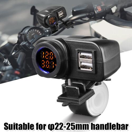 Dual Port USB Ladegerät LED Voltmeter Thermometer für Motorrad Lenker MA2144