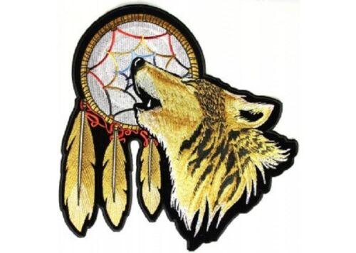 "Biker Vest Howling WOLF Dreamcatcher 6/"" x 6/"" iron on patch 3121 A33"