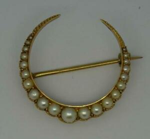 Antique-Victorian-Natural-Pearl-Crescent-Moon-15ct-Gold-Brooch-Pin-C-1890