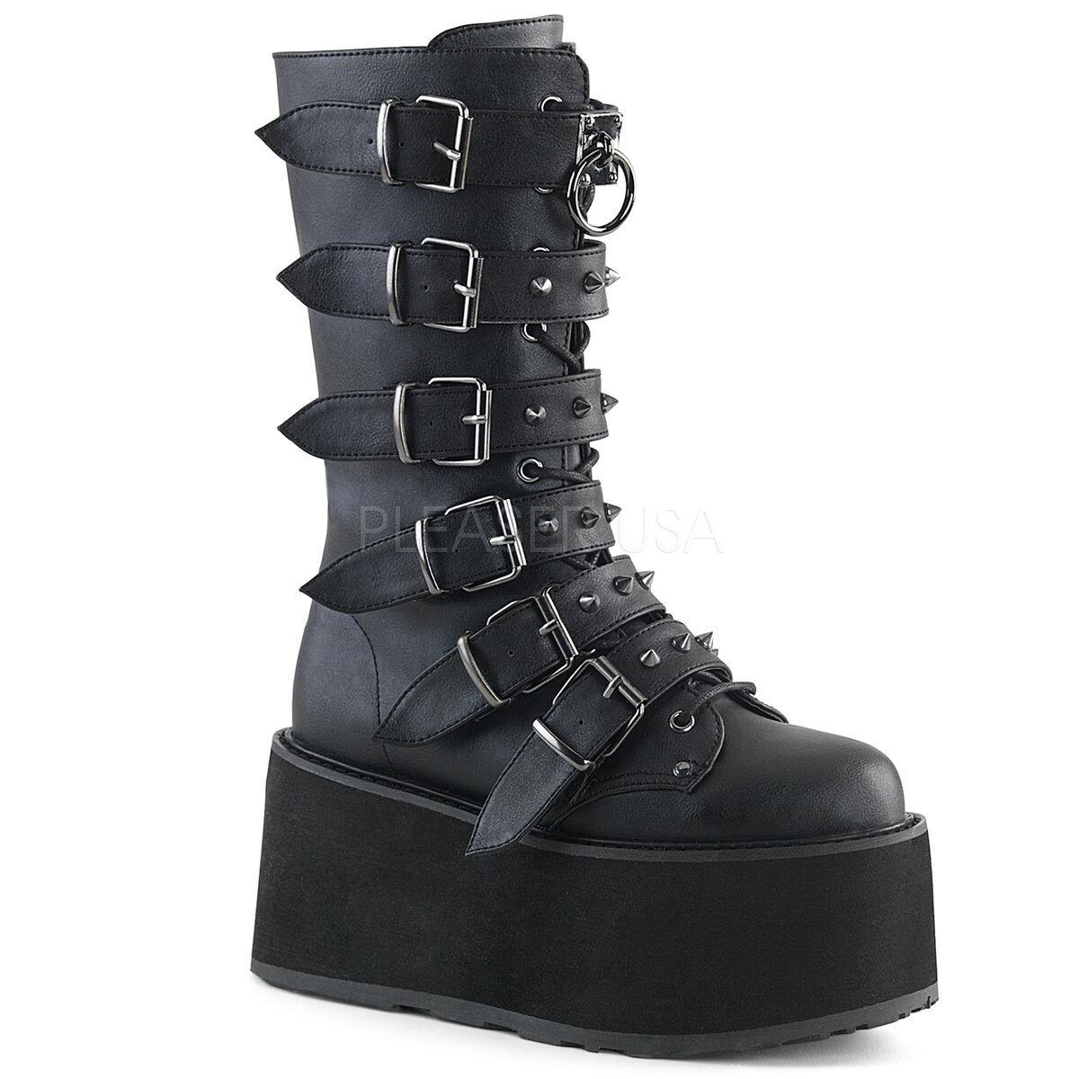 Demonia Negro Vegano 3.5  Plataforma botas Con Tachas Hebilla Mega Club Goth 6-12