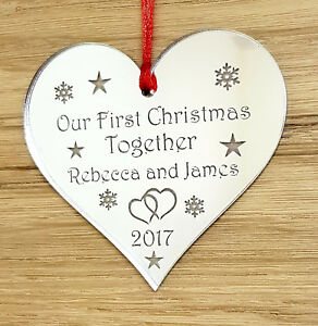 PERSONALISED-FIRST-CHRISTMAS-TOGETHER-TREE-DECORATION-BAUBLE-STAR-GIFT-SILVER