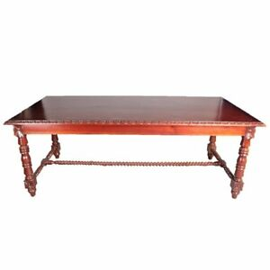 French-Carved-Mahogany-Barley-Twist-and-Rosette-Dining-Table-20th-Century