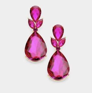 Image Is Loading 2 Drop Long Gold Hot Pink Fuchsia Rhinestone