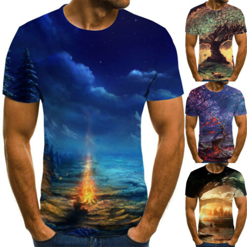 2020 Summer Men/'s Slim Fit T-shirt 3D Print Short Sleeve Casual Tee Tops Shirts