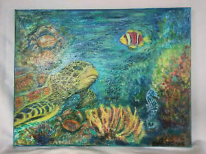 Original-Acrylic-Painting-Underwater-11X14-Stretched-Canvas-Sea-Turtle-Art-Decor