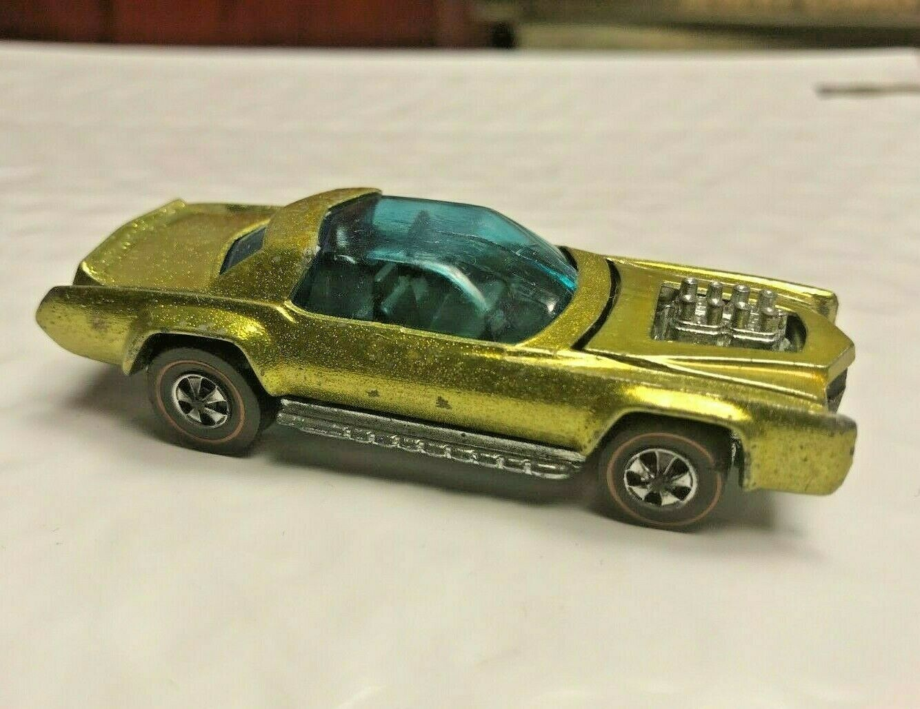 Hot Wheels Redline 1971 Sugar Caddy HK base YELLOW BROWN INT blueE GLASS