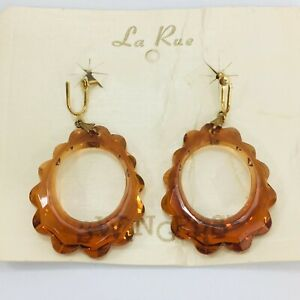 Vintage Lucite Hoop Dangle Earrings Amber Orange Gold Tone Screw Back