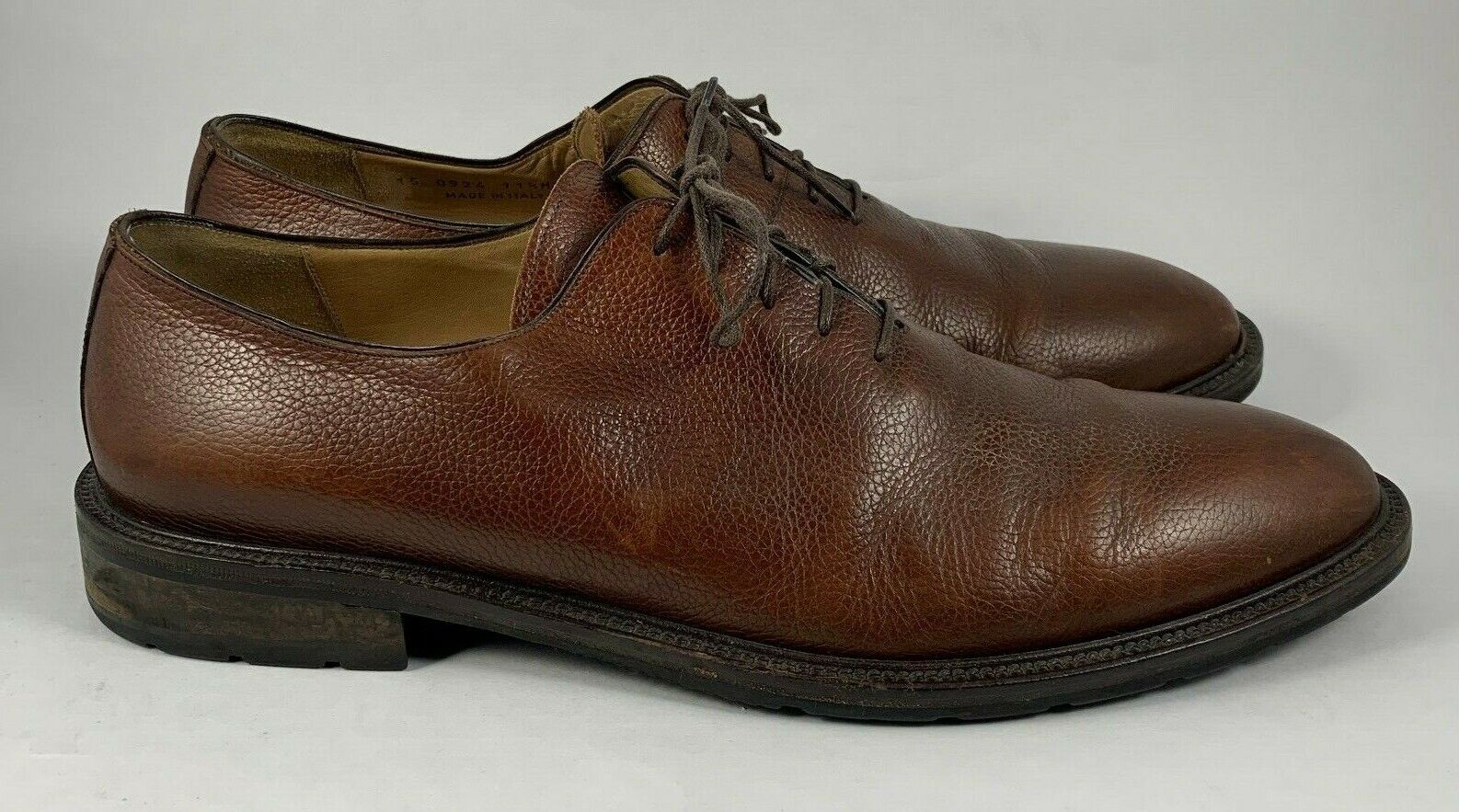 Men's Johnston & Murphy Italy Brown Pebbled Leather Oxford Shoes Size 11 1/2 M