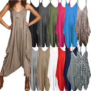 Ladies-Baggy-Harem-Jumpsuit-Romper-Sleeveless-All-In-One-V-Neck-Cami-Playsuit