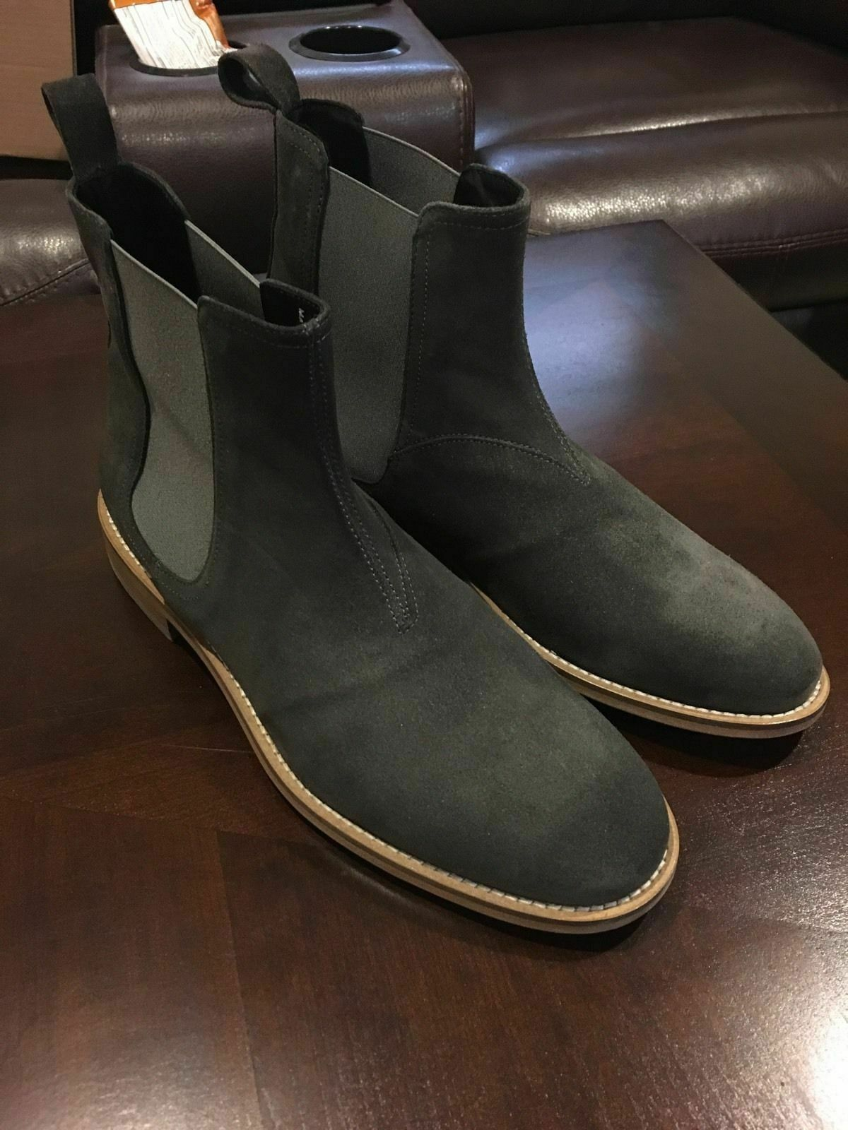 Mens Handmade Boots Dark Grey Suede Chelsea Ankle Formal Wear Casual Dress shoes