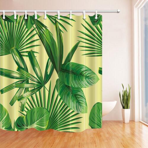 "Green Plants Banana Leaves Nature Decor Fabric Shower Curtain Set Bathroom 71/"""