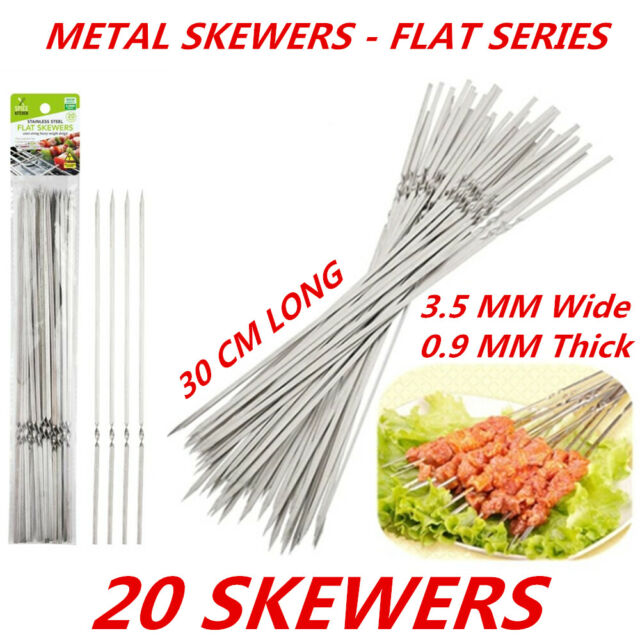 20 x Stainless Steel Barbecue Metal Skewers Flat Needle BBQ Grill Kebab Stick