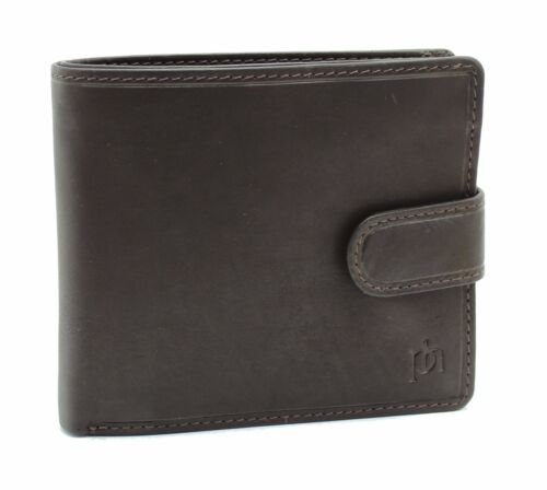 Mens Real Leather Wallet With Large Zip Pocket Pouch And ID Window 5004 Brown