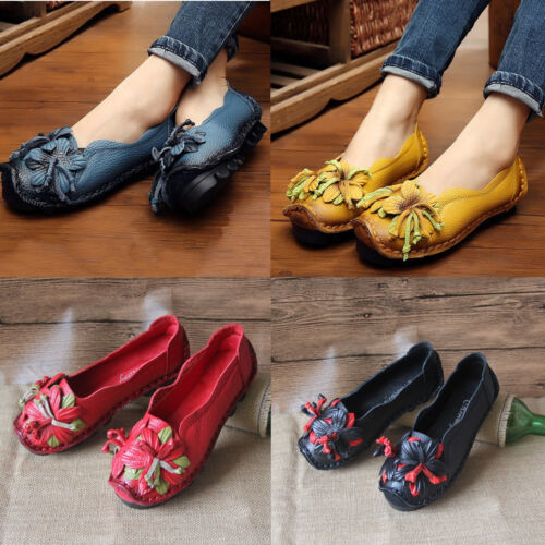 Ethnic slip Flower Flats Womens Slip Shoes Socofy Leather Anti Mocassini Soft On WTqPZzx