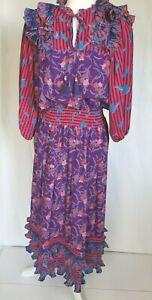 Vintage-Diane-Freis-Purple-Pink-Frilly-Maxi-Dress-Medium-Large-80s