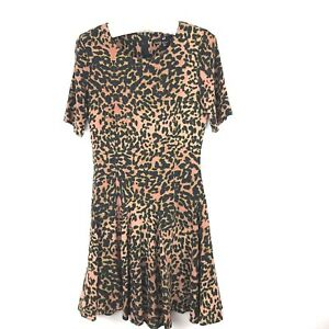 4bbc000db6 Details about H M Womens Dress Size 4 Short Sleeve Black Animal Print Fit    Full Viscose 05