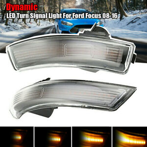 1Pair With Dynamic Smoked LED Turn Signal Light Mirror Indicator For Ford Focus
