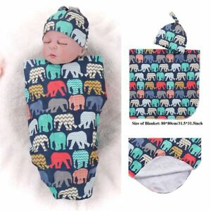 Cute-Newborn-Receiving-Blanket-Baby-Cartoon-Elephants-Printed-Swaddle-With-Hat