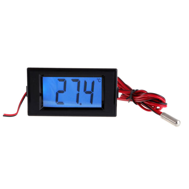 Digital Blue LCD Backlight Thermometer Temperature Panel Meter With Probe Sensor