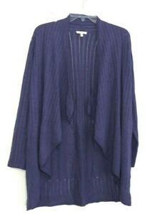 Eileen-Fisher-Purple-Open-Front-Drape-Cardigan-Knit-Ribbed-Sweater-size-M-BFK