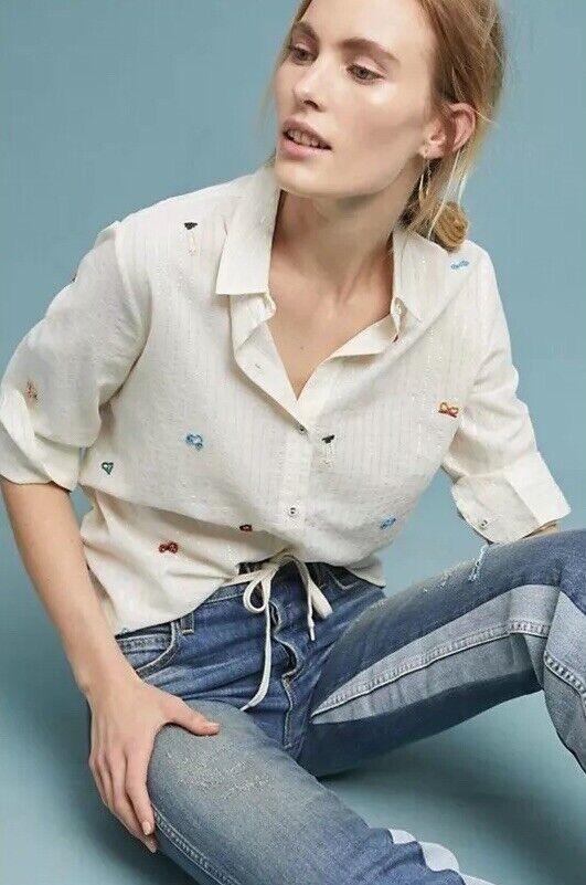 NWT Anthropologie Intropia Nora Embellished Buttondown Blouse Größe 40 Medium