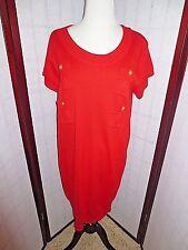 DIANE von FURSTENBERG Beliz Women's Red Cotton Silk Blend Sweater Dress Size L