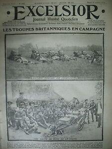WW1-N-1442-TROUPES-BRITANNIQUES-EXODE-ANVERS-COMMUNIQUeS-JOURNAL-EXCELSIOR-1914