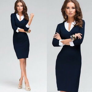 Summer-Womens-OL-Navy-Office-Formal-Party-Pencil-Dress-V-neck-Work-Bodycon-Dress