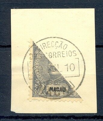 MACAU CHINA 1910 STAMP BISECTED ON PIECE   @7
