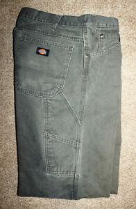 Para Hombres Pantalones De Trabajo Dickies Verde Pato Lona Relaxed Fit Carpintero Utilidad De 38 X 32 Ebay
