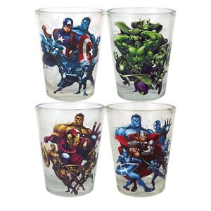 NEW-NIB-Marvel-Avengers-Glassware-Collectors-Set-4-Shot-Glasses-cups-1-5-ounces