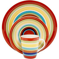 Mainstays Sonoma Stripes 16-piece Dinnerware Dinner Set Multicolor Plates Dishes