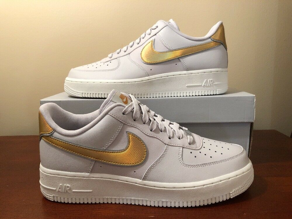 SIZE 10.5 WMNS NIKE AIR FORCE 1 '07 METALLIC SWOOSH VAST GREY gold WHITE Limited