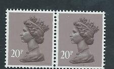 GB unused SG x1014, Scott MH113 20p dull purple phosphor paper Machin pair MNH