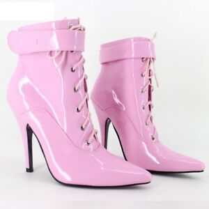 Pink PVC Cheville Haute Verrouillage Sissy Maid Chaussures Ballet Bottes Sexy Chaussure 12 cm Heals-afficher le titre d'origine