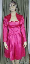 Fun Vintage 80's Home Sewn Strapless Hot Pink Full Skirt Dress & Bolero Bust 30