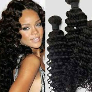 100 virgin peruvian deep wave human hair weave extension 3pcs image is loading 100 virgin peruvian deep wave human hair weave pmusecretfo Images