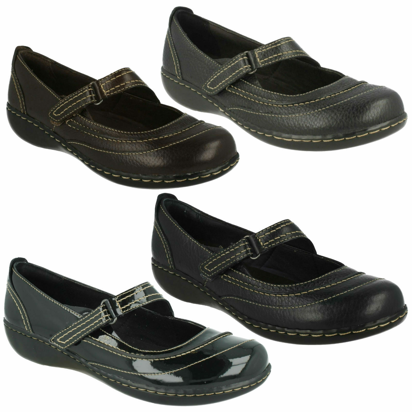 EMBRACE CHAT LADIES CLARKS LEATHER PATENT RIPTAPE MARY JANE CASUAL FLAT scarpe